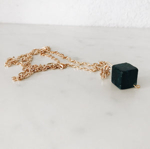 Serpentine Cube Necklace