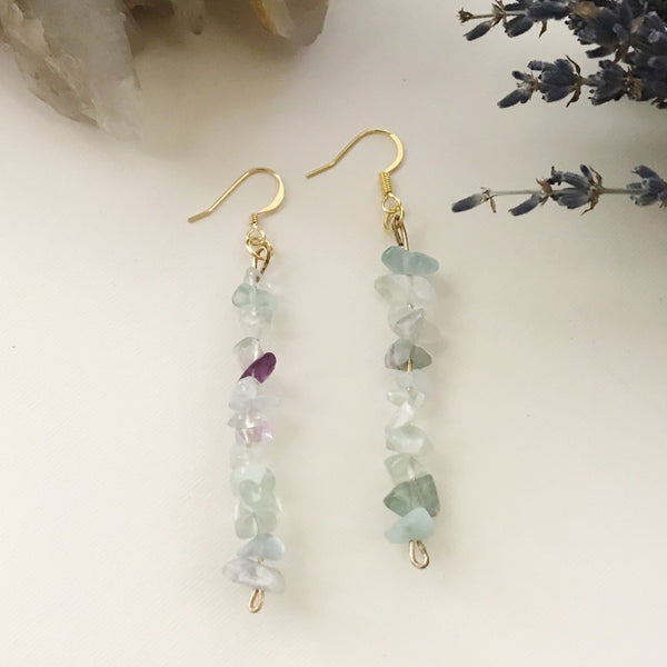 Rainbow Fluorite Bead Earrings