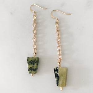 Serpentine Triangle Earrings, gold