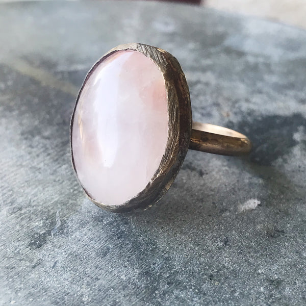 Rose Quartz Oval Ring, size 7.5