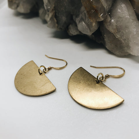 Gold & Brass Half-Circle Earrings