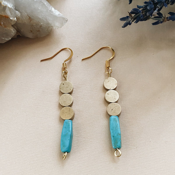 Triple Circle Turquoise Earrings