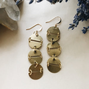 Brass and Gold Triple Circle Earrings