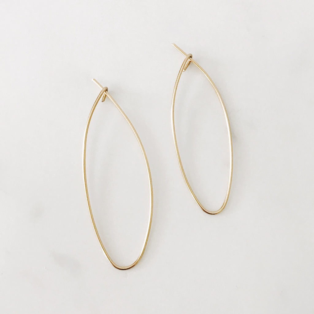 Gold Brass Teardrop Hoops