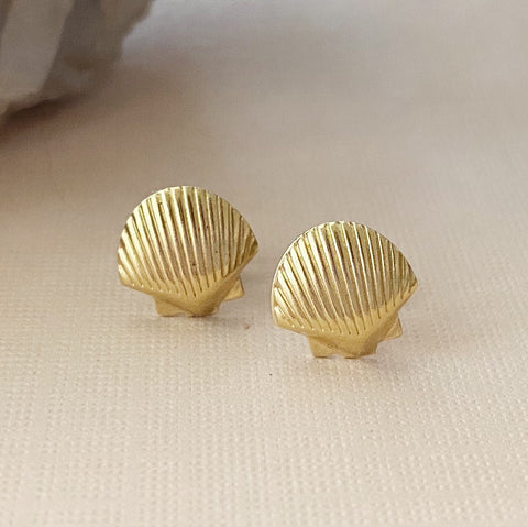 Brass Seashell Studs
