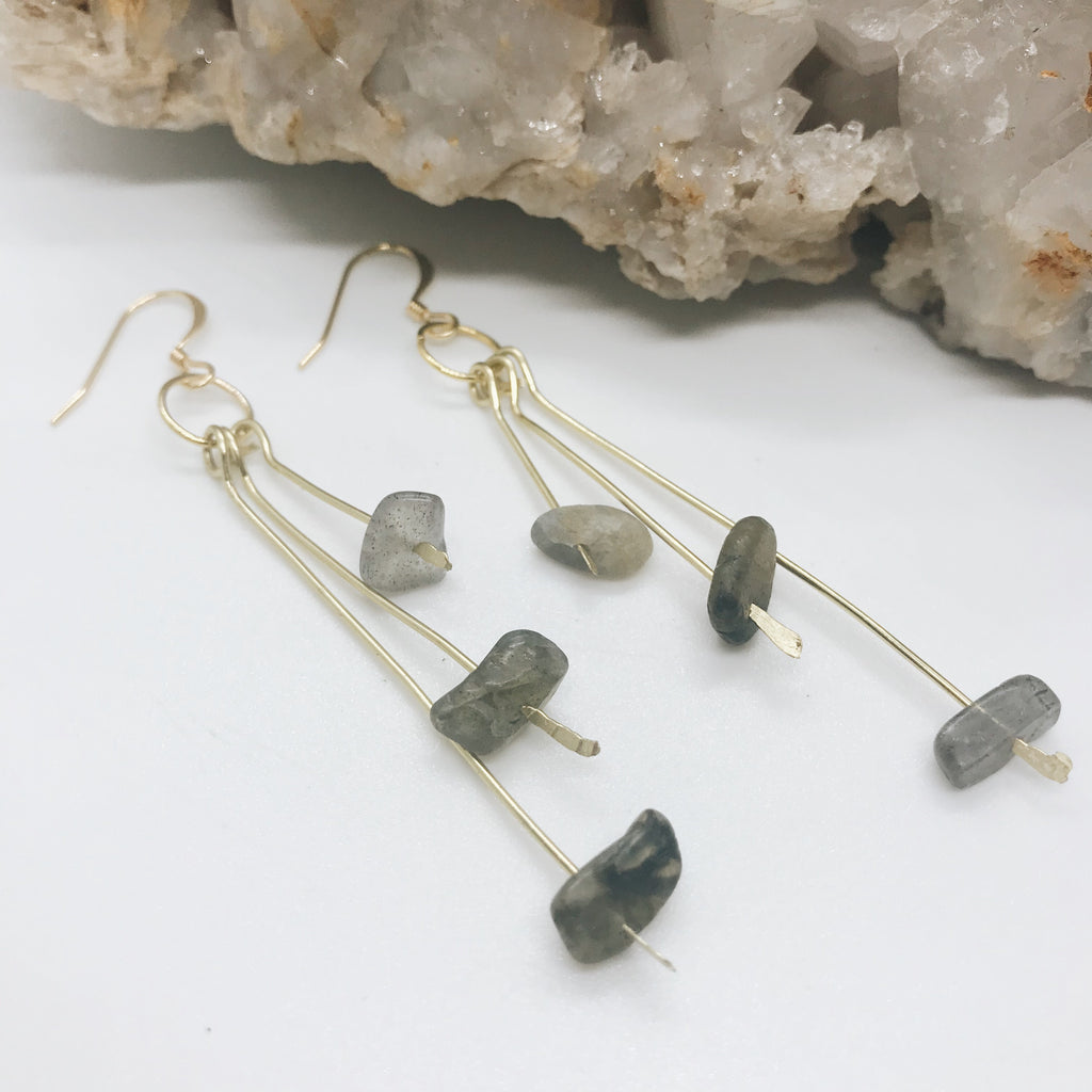 Gold Labradorite Bead Earrings
