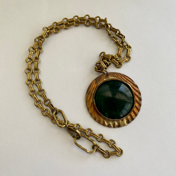 Green Glass Circle Necklace