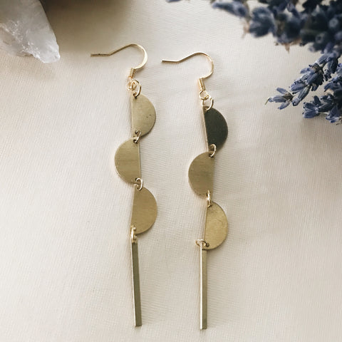 Vertical Triple Half Moon Earrings