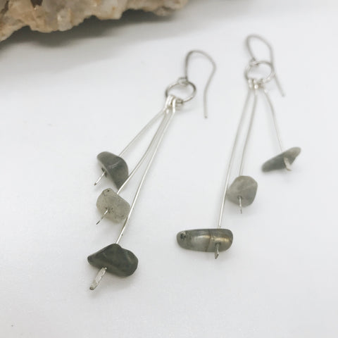 Silver Labradorite Bead Earrings