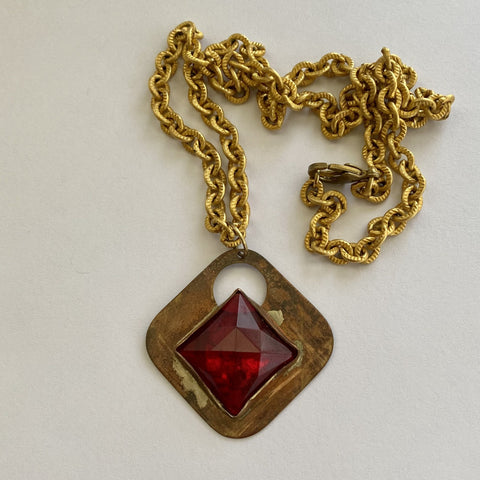 Red Glass Diamond Necklace