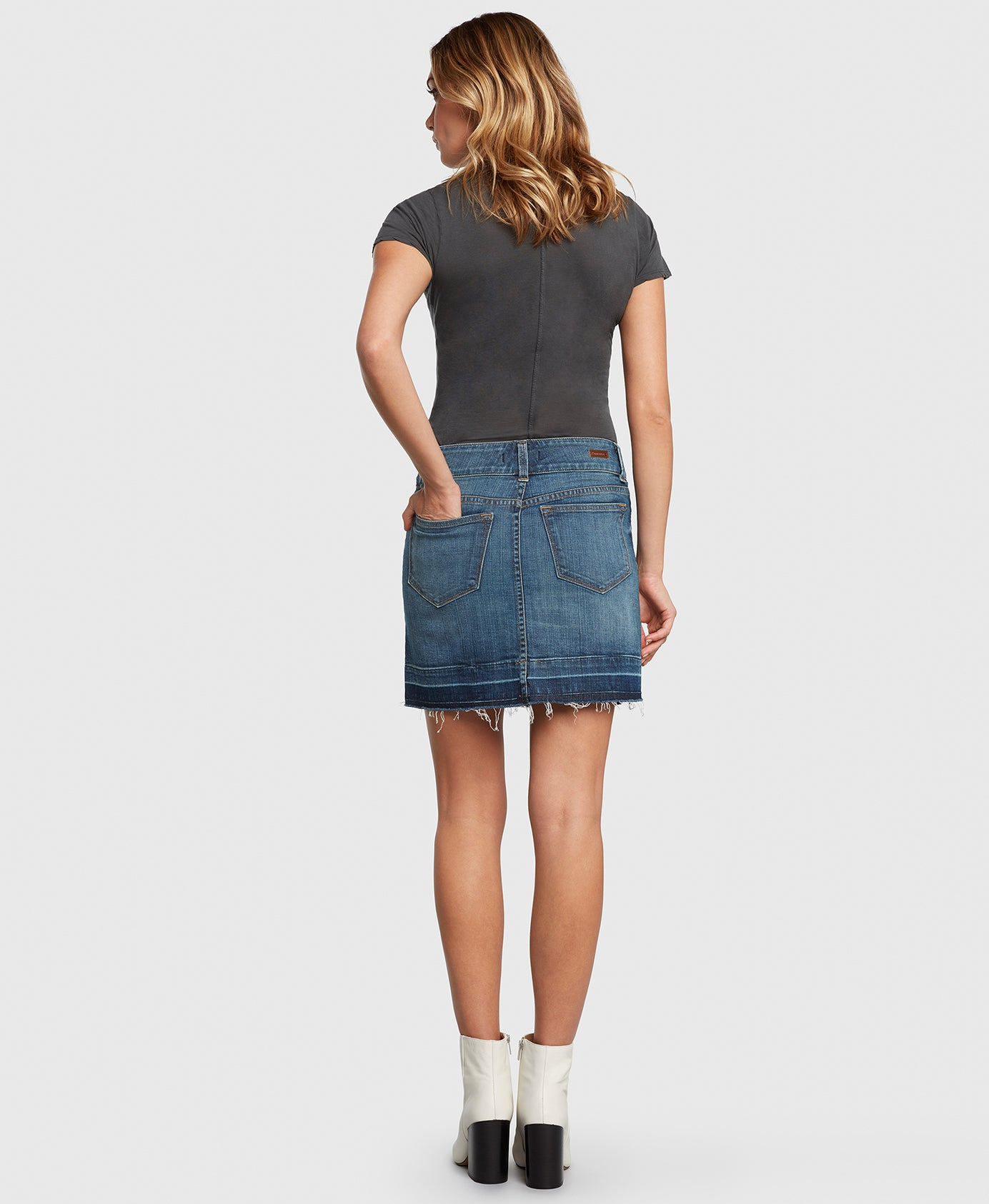 Principle denim skirt with double button waistband back