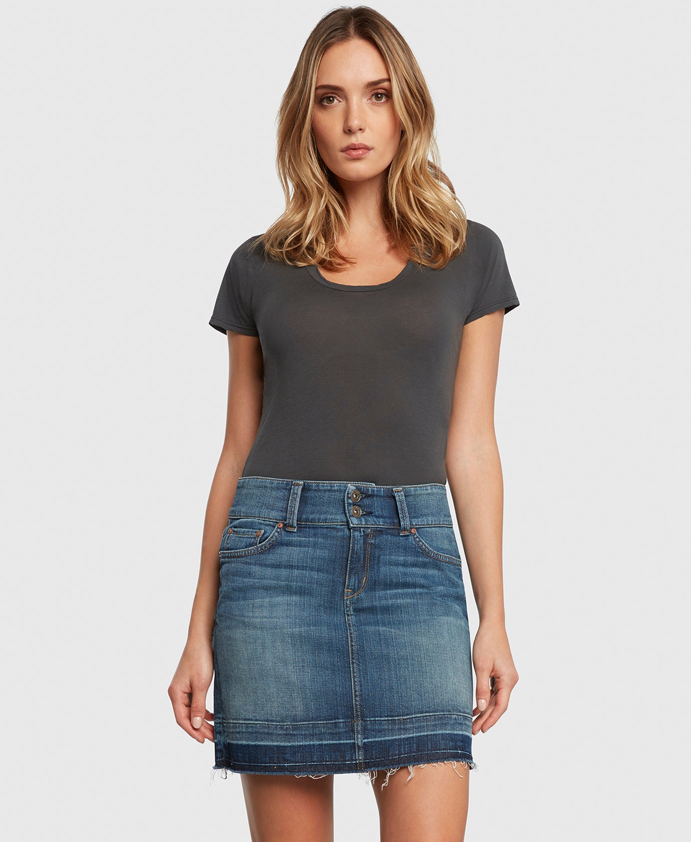 Principle denim skirt with double button waistband detail