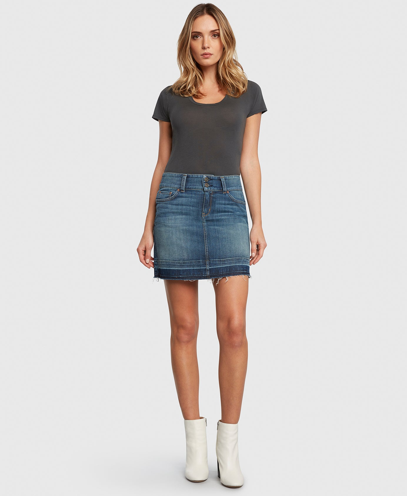 Principle denim skirt with double button waistband