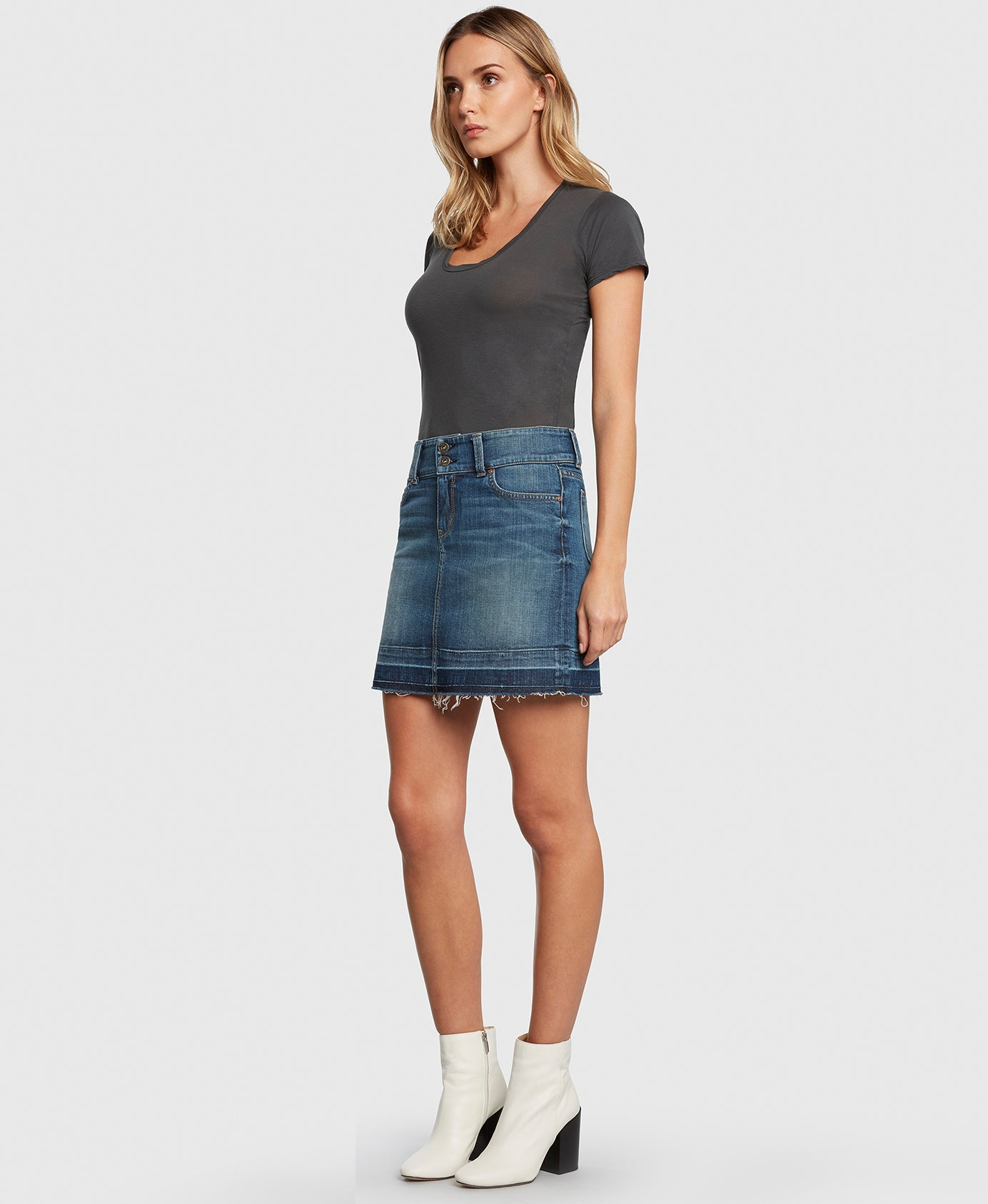 Principle denim skirt with double button waistband side
