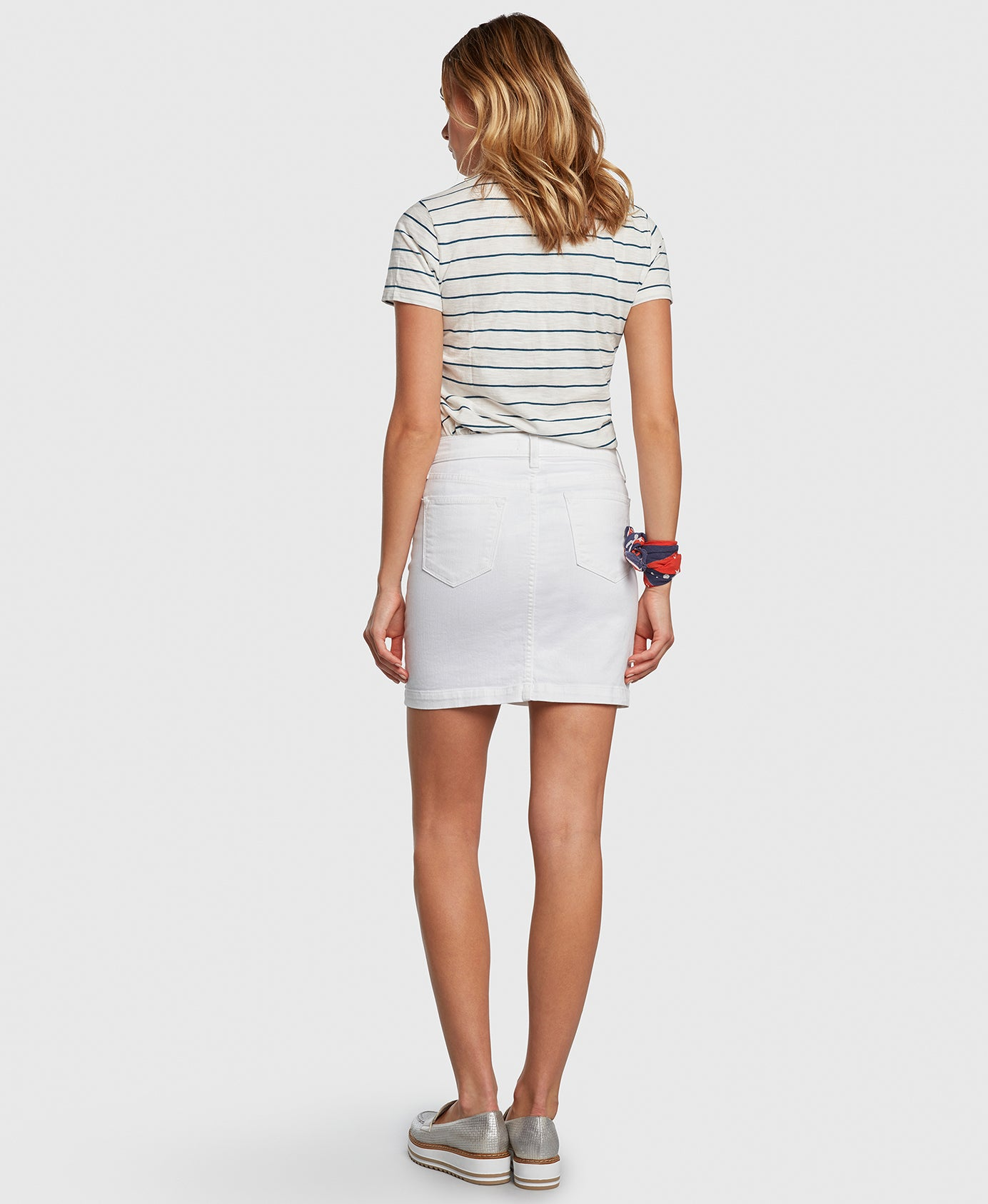 CHARMER in White Principle denim skirt back