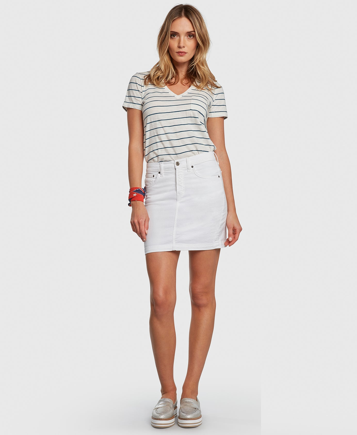 CHARMER in White Principle denim skirt