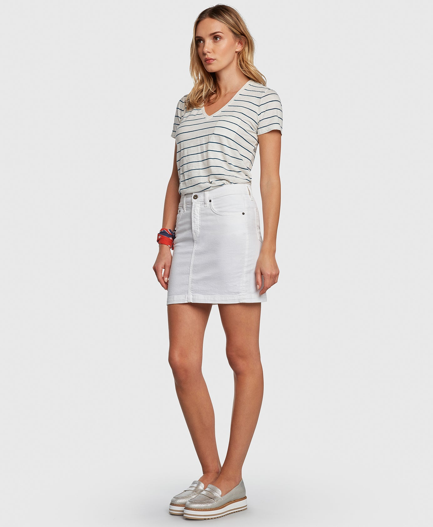 CHARMER in White Principle denim skirt side