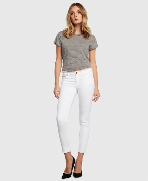 Principle DREAMER in White Tripper raw edge jeans