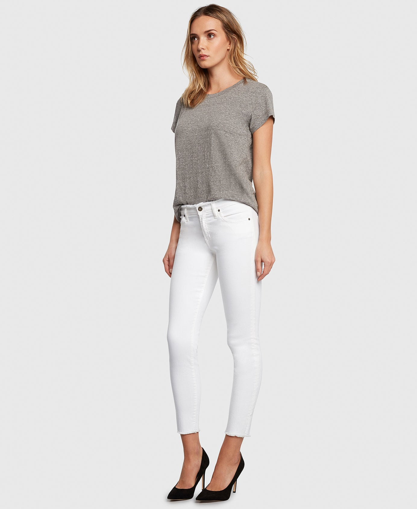 Principle DREAMER in White Tripper raw edge jeans side