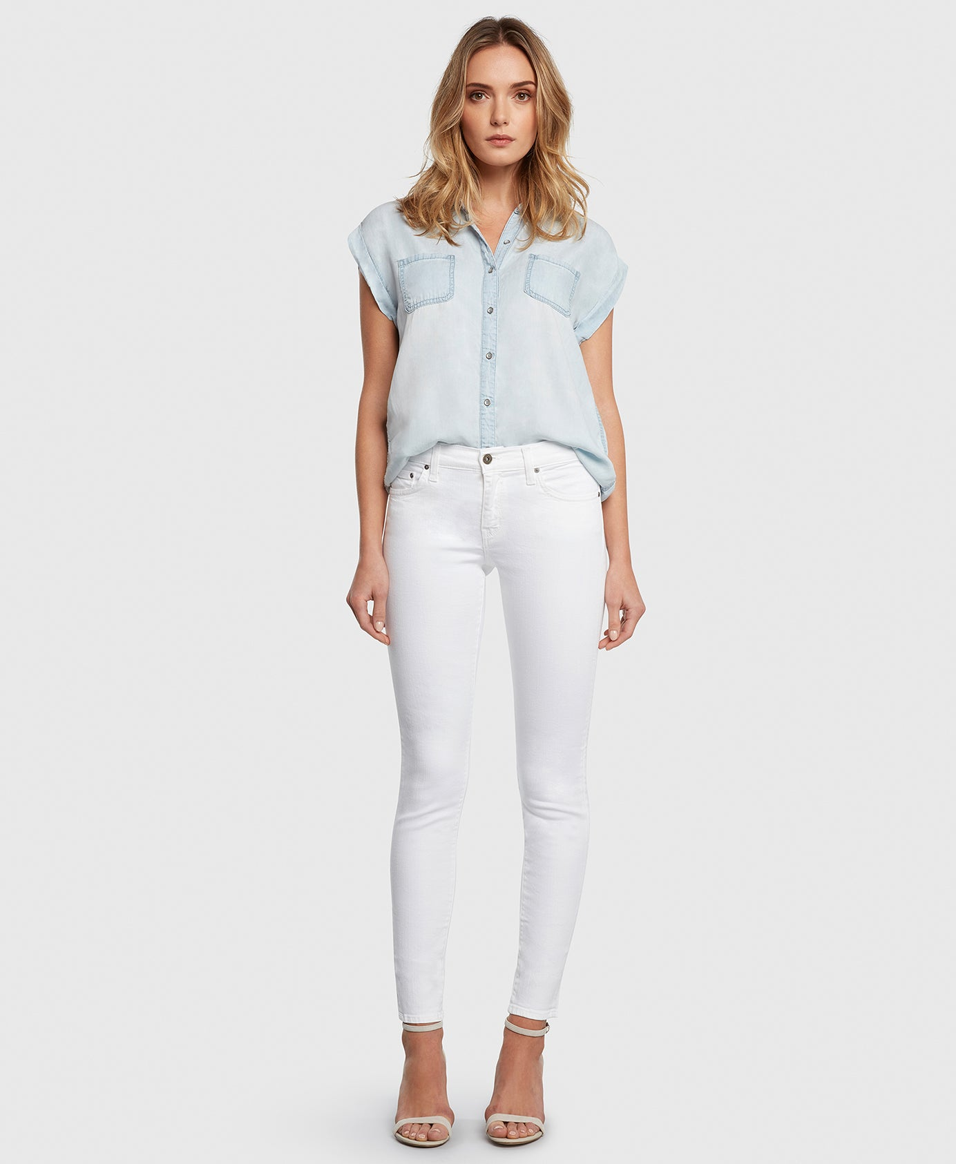 Principle DREAMER in White twill mid rise skinny jeans