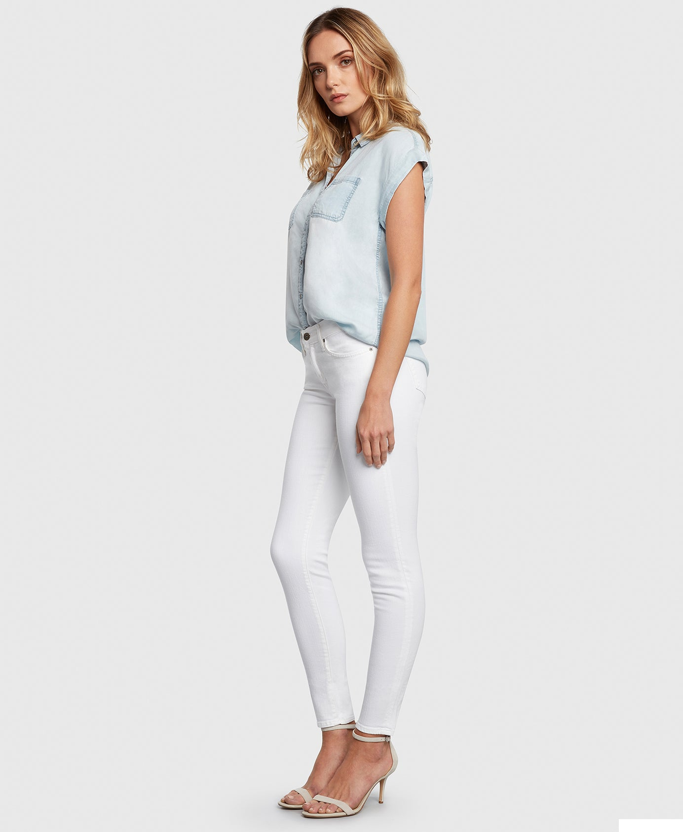 Principle DREAMER in White twill mid rise skinny jeans side