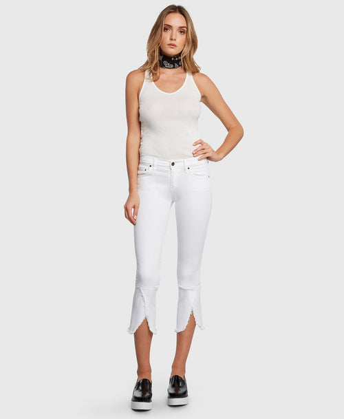 Principle FLIRT in White cropped jeans