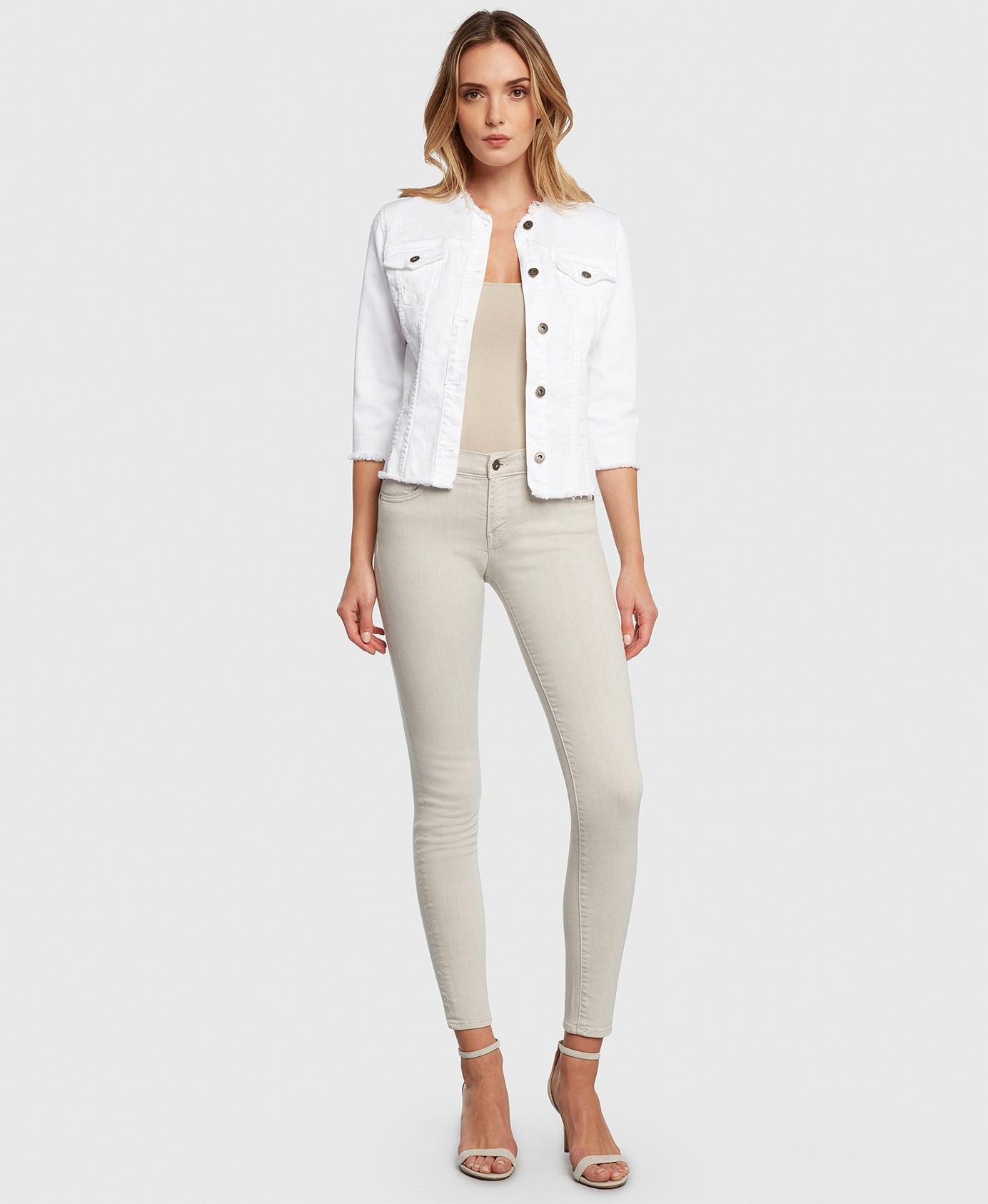 Principle denim jacket JEWEL in White front