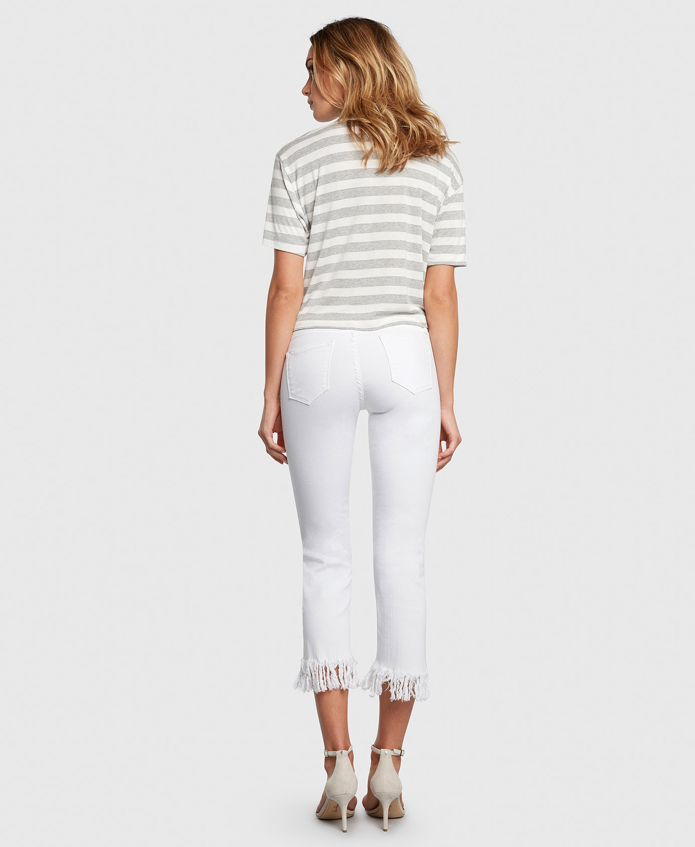 Principle mid rise OPTIMIST in Magnolia white jeans back