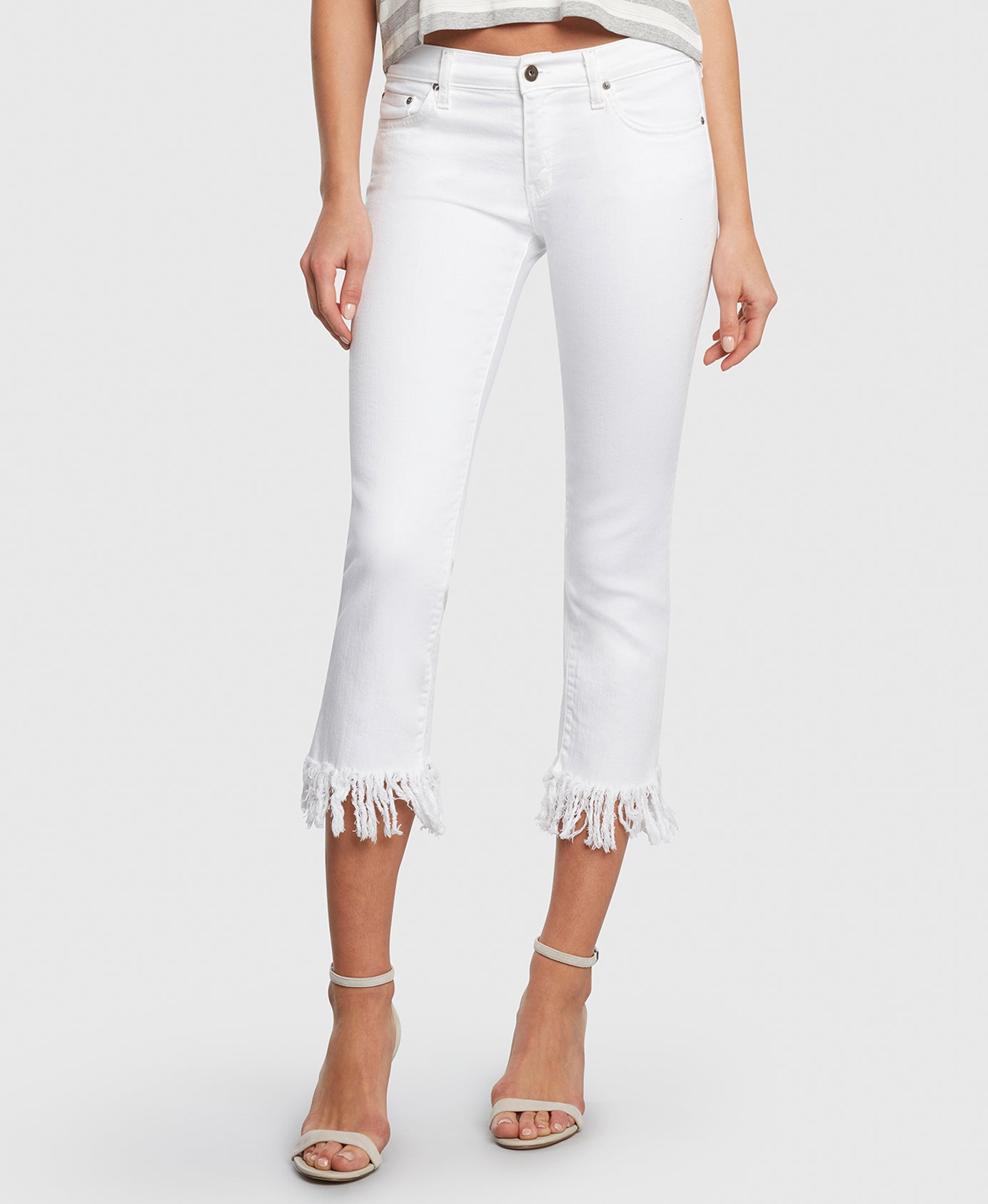 Principle mid rise OPTIMIST in Magnolia white jeans detail