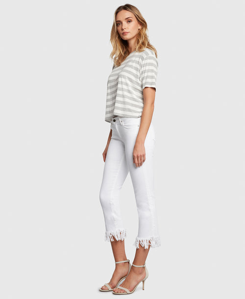 Principle mid rise OPTIMIST in Magnolia white jeans side
