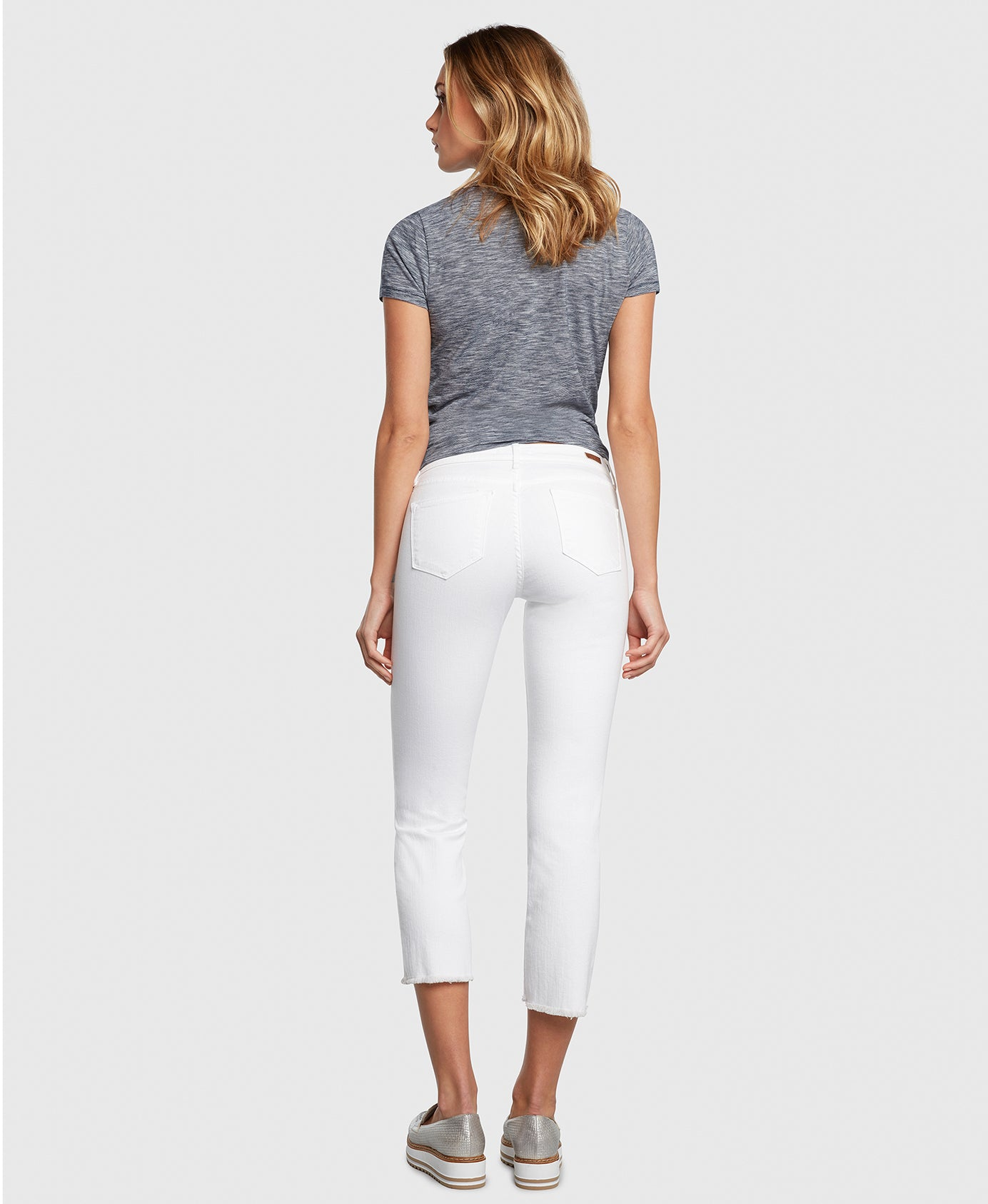 Principle OPTIMIST in White cropped jeans back