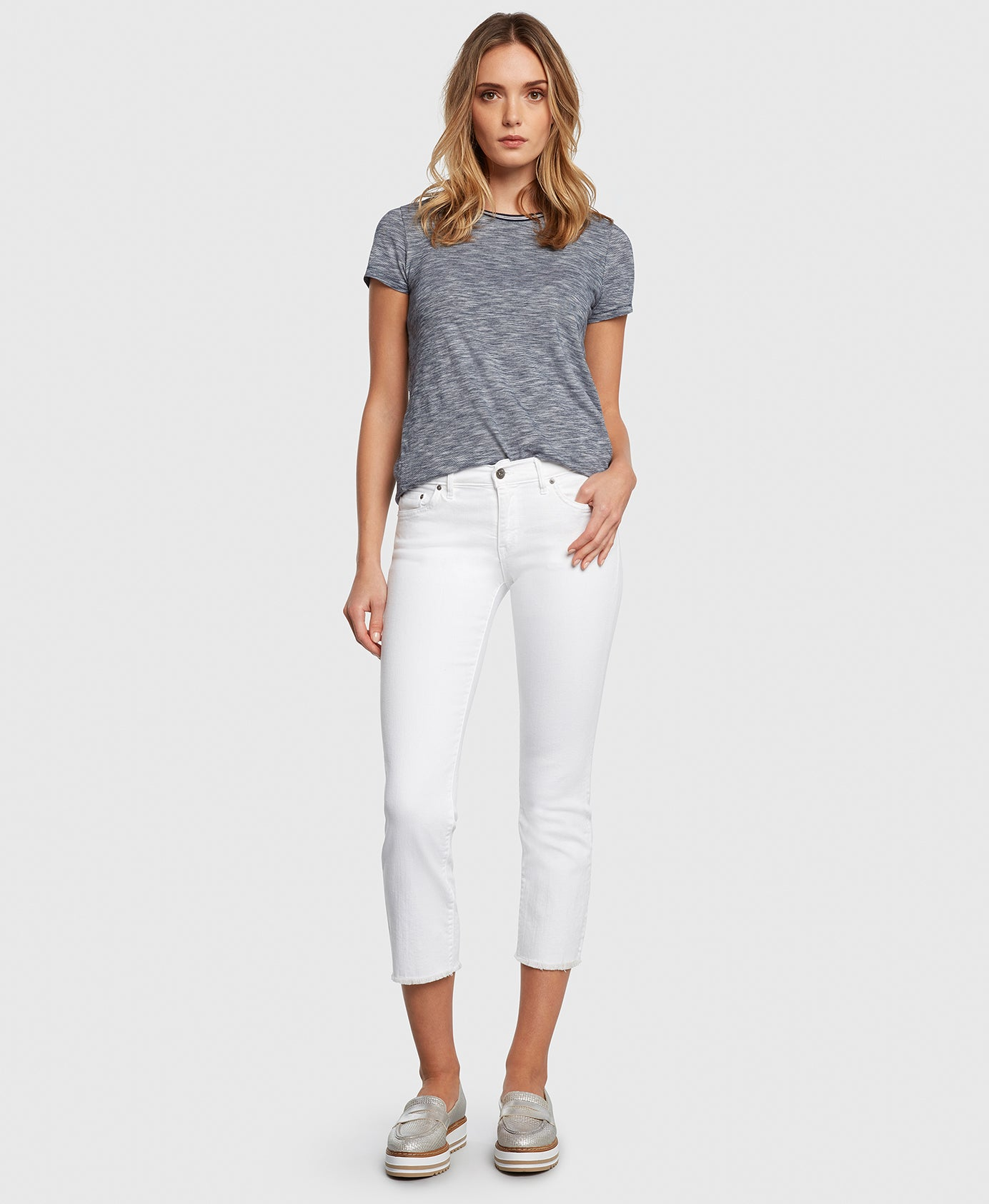 Principle OPTIMIST in White cropped jeans