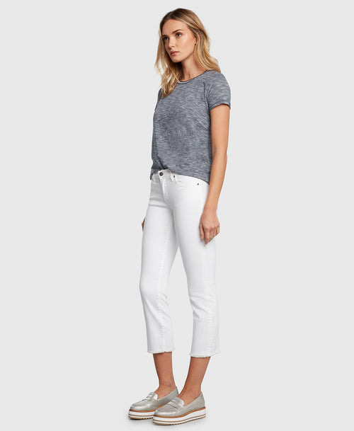 Principle OPTIMIST in White cropped jeans side