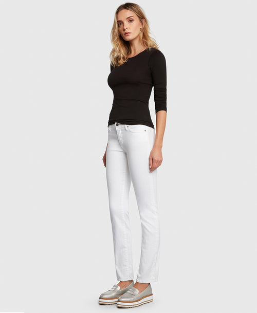 Principle ULTRA in White straight leg jeans side