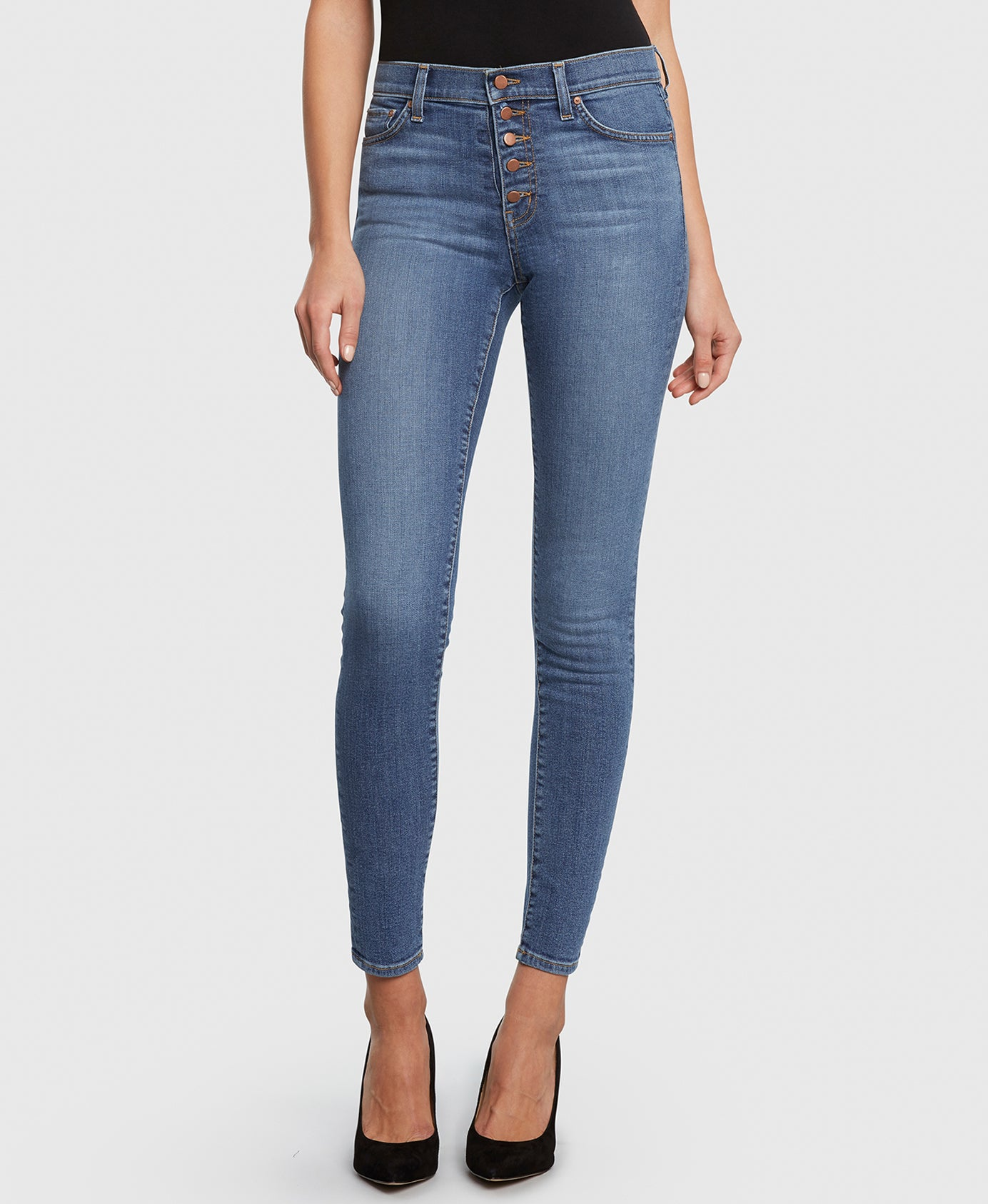 VISION in Hella Good high rise skinny jeans detail