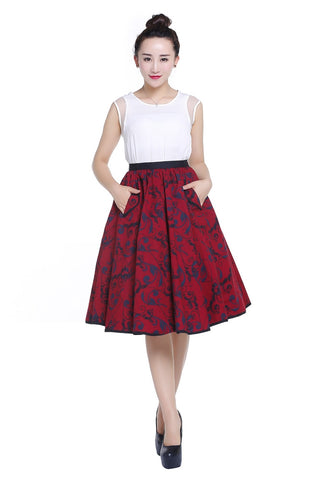 Budget Swing Skirt - Red & Black