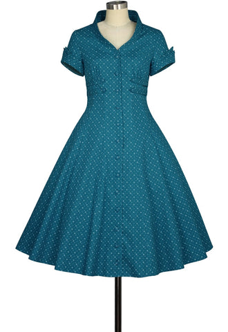 Retro Collar Polka Dot Dress