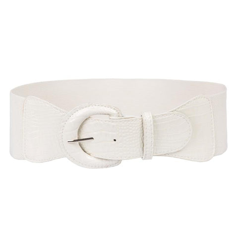 Elastic Waist 7.5cm Wide Belt - White