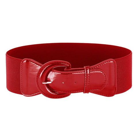 Elastic Waist 7.5cm Wide Belt - Red