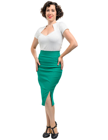Cora Pencil Skirt Jade - Medium ONLY