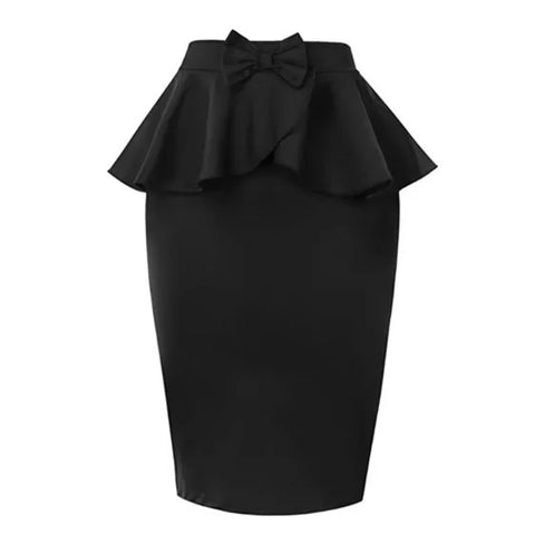 Peplum Pencil Skirt - Black