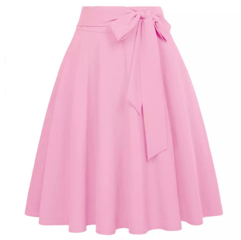 Pink Retro Skirt with Bow Tie Waist