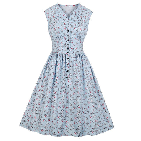 Floral Print Retro Style Tea Dress - Small Only