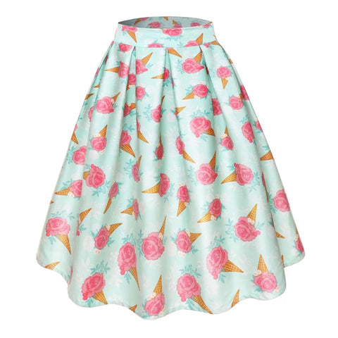 Retro Style Ice Cream Rose Skirt
