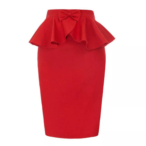 Peplum pencil skirt - red