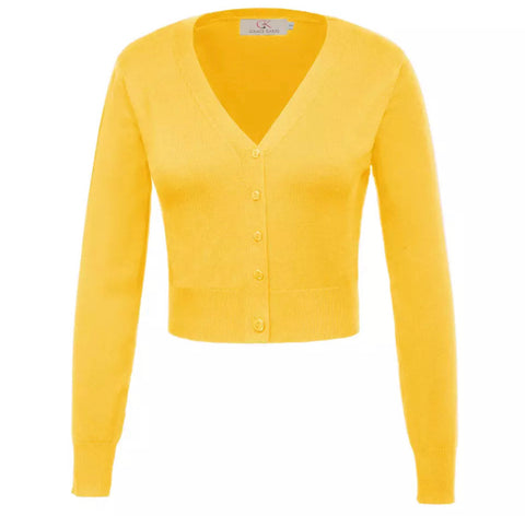 Cropped Long Sleeve V-Neck Cardigan - Yellow