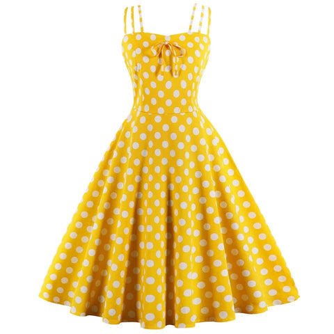 Yellow Polka Dot Swing Dress