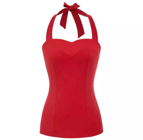 Sweetheart Halter Top - Red