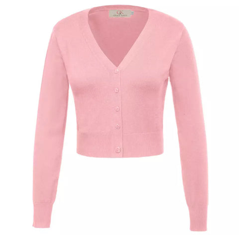 Cropped Long Sleeve V-Neck Cardigan - Pink
