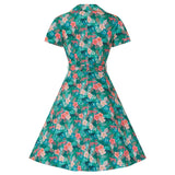 Lilith Green Floral Leopard Print Tea Dress